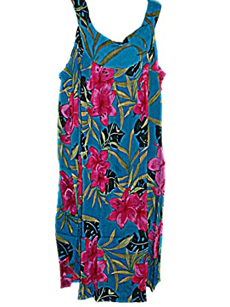 Tropical Hawaiian Blue Floral Plus Size Summer Dress (1X-2X) TC036