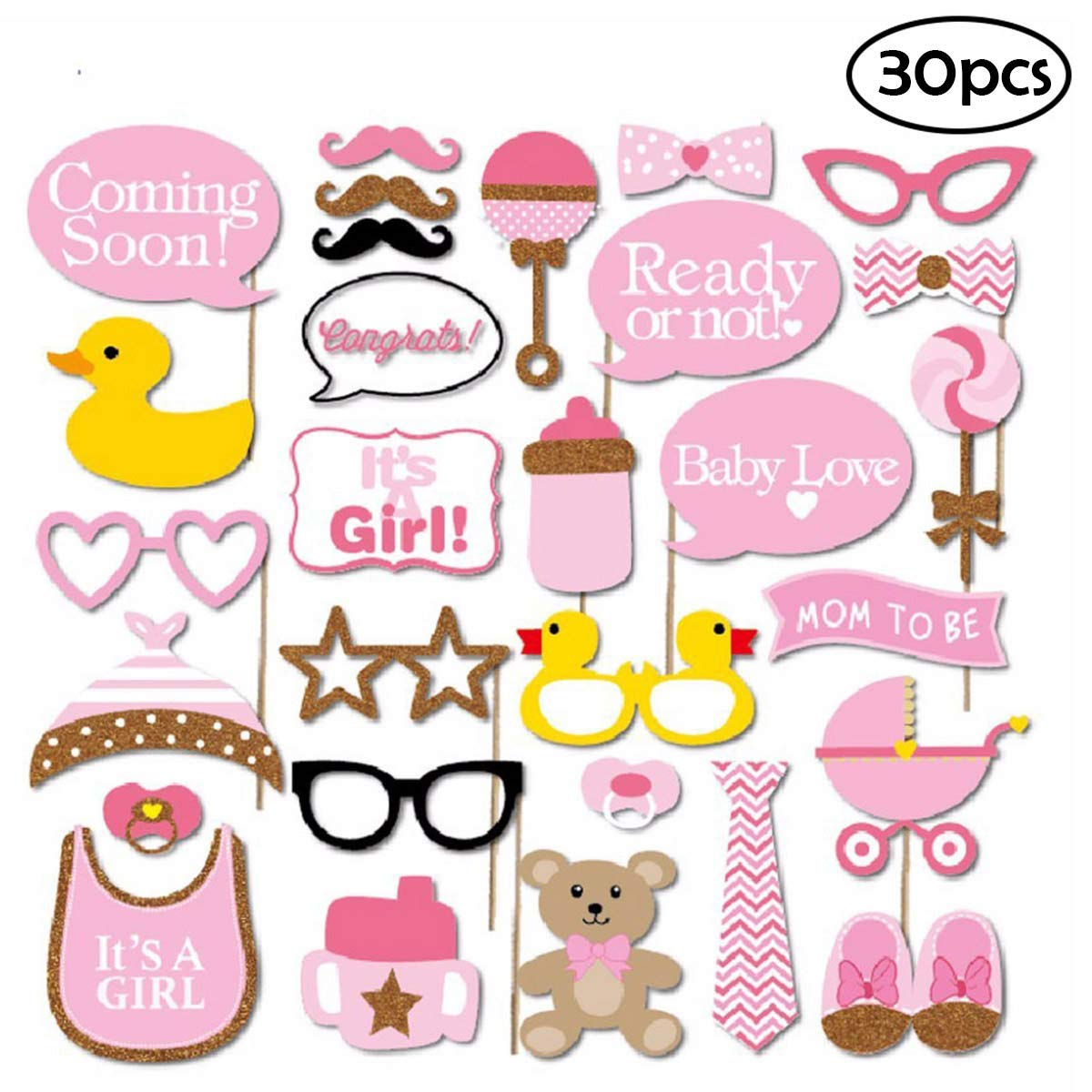 COKOHAPPY Pink Gold Girls Baby Shower Photo Booth Props Kit, DIY Pose Sign Party Decoration Supplies - 30 Printed Pieces with Wooden Sticks