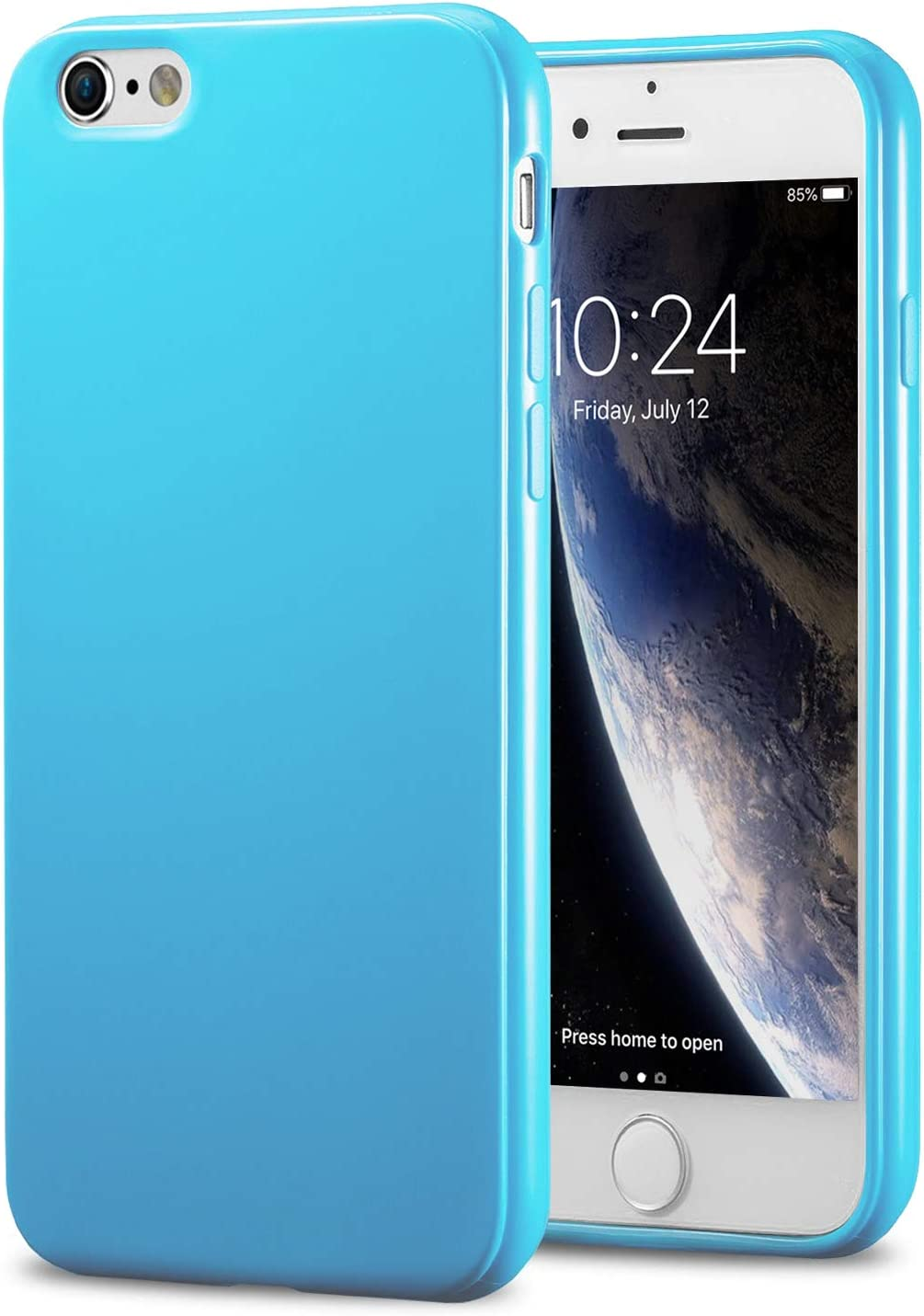 TENOC Phone Case Compatible for Apple iPhone 6S and iPhone 6 4.7 Inch, Slim Fit Cases Soft TPU Bumper Protective Cover, Glossy Light Blue