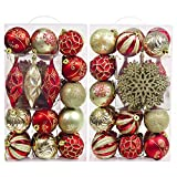 Valery Madelyn 40ct Luxury New Red Gold Shatterproof Christmas Ball Ornaments Decoration, Themed with Tree Skirt(Not Included)