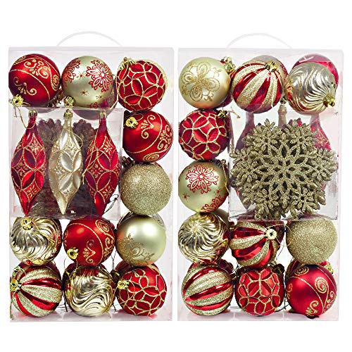 - Valery Madelyn 40ct New Luxury Red Gold Shatterproof Christmas Ball Ornaments Decoration,Themed with Tree Skirt(Not Included)