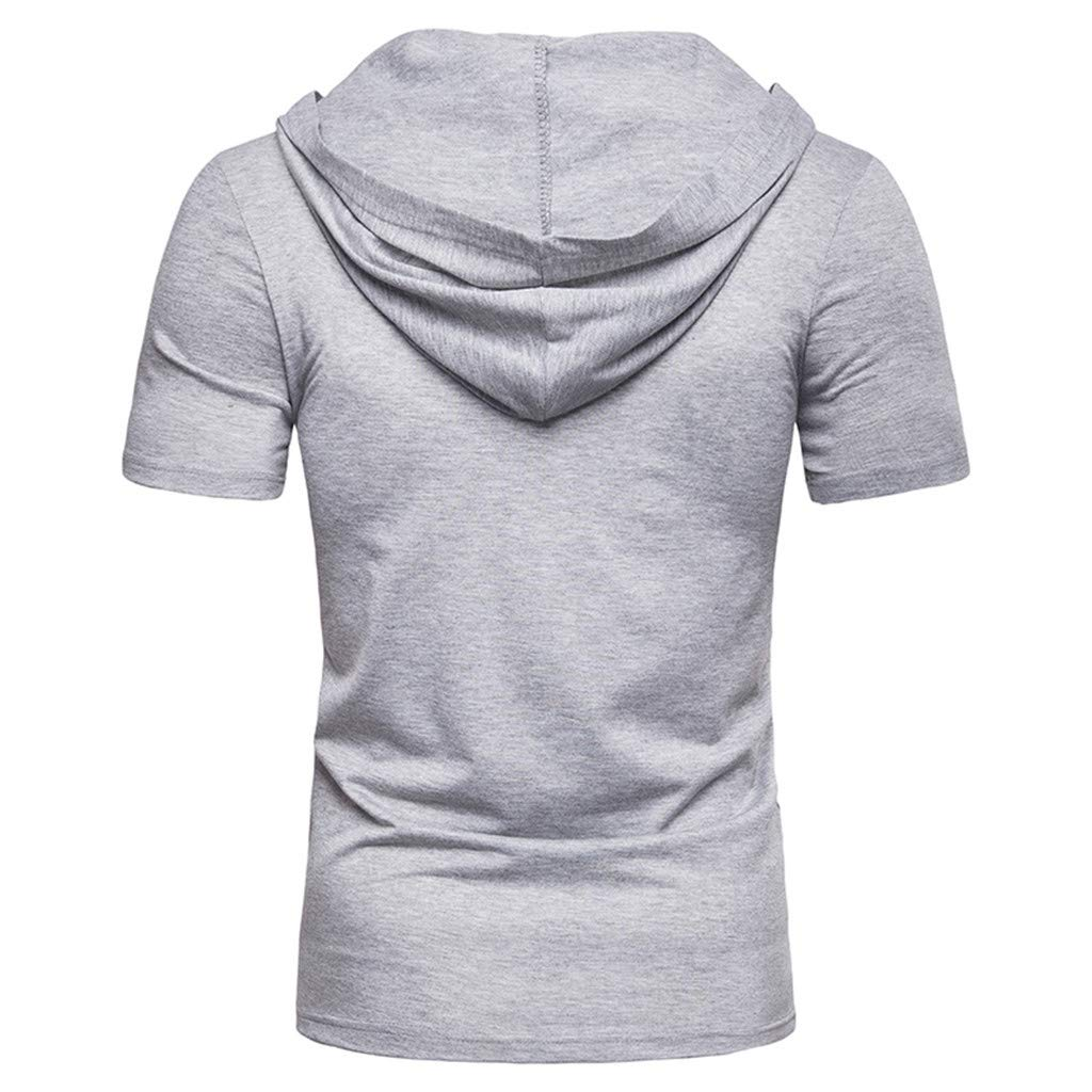 Tiitstoy Mens Summer Fashion Casual Shirts Loose Tops Blouse Tie Hooded Binding Short Sleeve T-Shirt