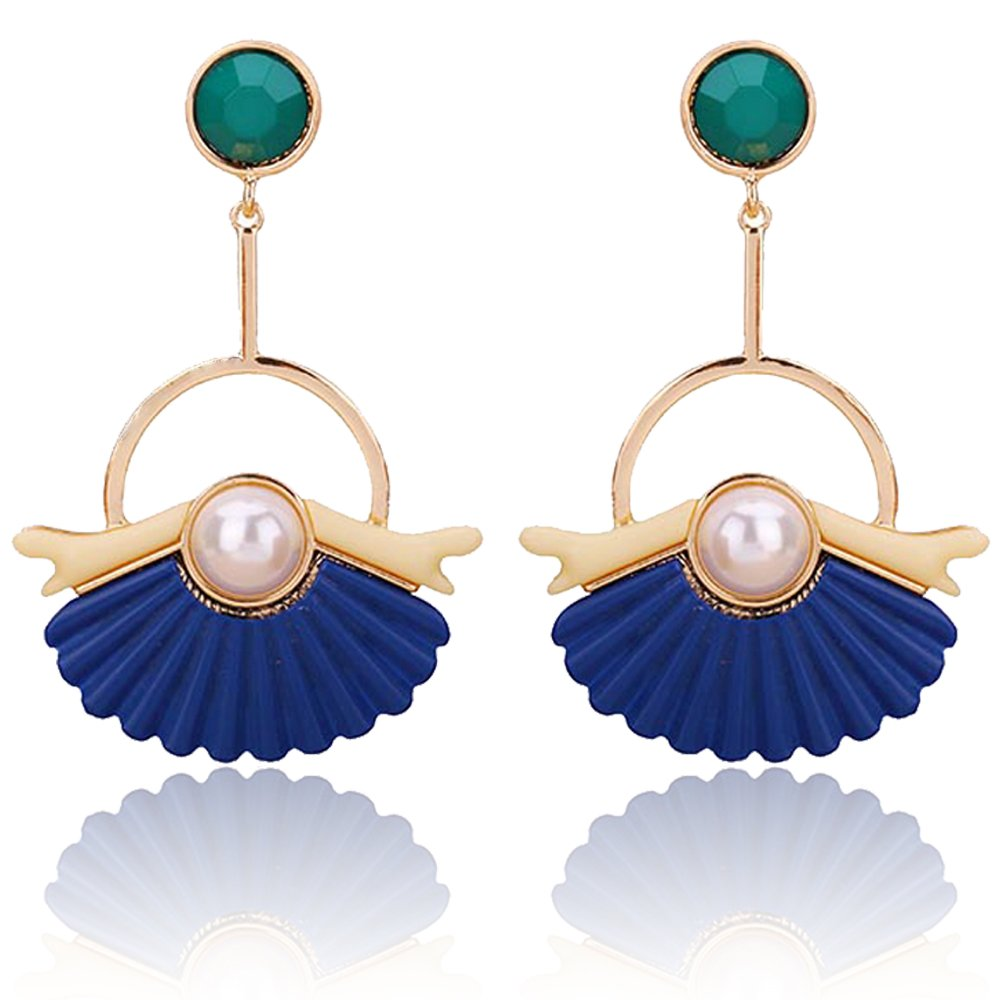 BEMI Elegant Bohemia Gold Plated Metal Bar Tassel Resin Pendant Christmas Gift Dangle Earrings for Women Blue Sheel