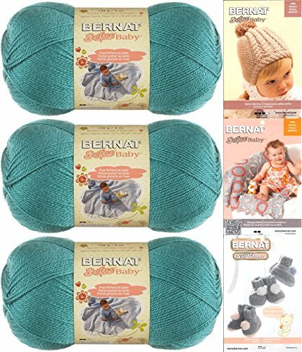 Bernat Softee Baby Yarn 3 Pack Bundle Includes 3 Patterns DK Light Worsted (Aqua)
