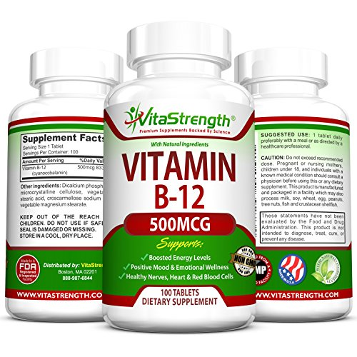 Vitamin B12 500 mcg – Promotes a Healthier Nervous System & Gives Your Mood A Boost – 100 Tablets