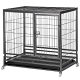 Yaheetech Strong Metal Dog Cage Pet Kennel Crate Playpen Large Dogs w/Casters, Pull Out Tray