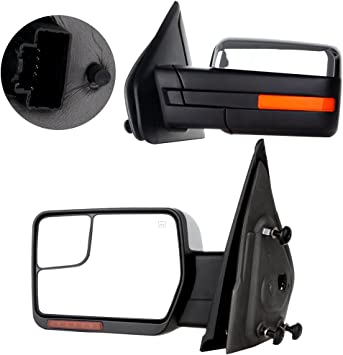 FOR 09-14 F-SERIES F150 CHROME AMBER LED SIDE TOWING MIRROR TURN SIGNAL LIGHTS