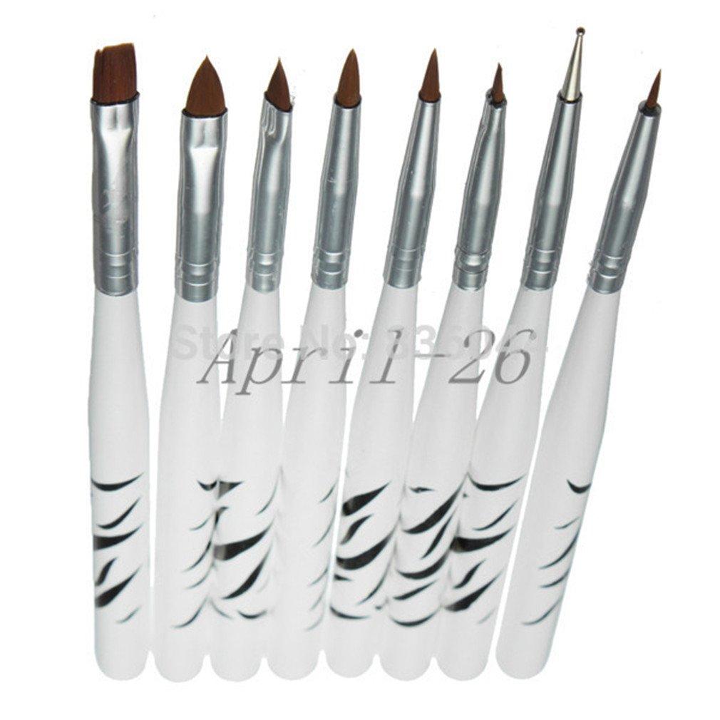 Set 8Pcs Nail Art Brush 8 Design Dotting Painting Drawing Liner Fin Polish Pen Tools Tips Manicure Diy Kit