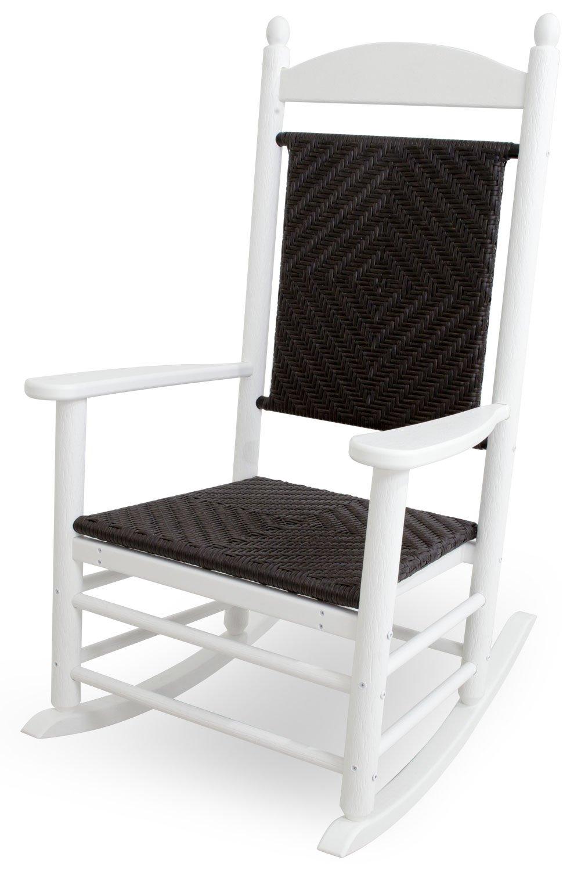 CASA BRUNO Original Jefferson Schaukelstuhl aus recyceltem Polywood® HDPE Kunststoff, weiss mit geflochtenem Sitz und Rücken - kompromisslos wetterfest
