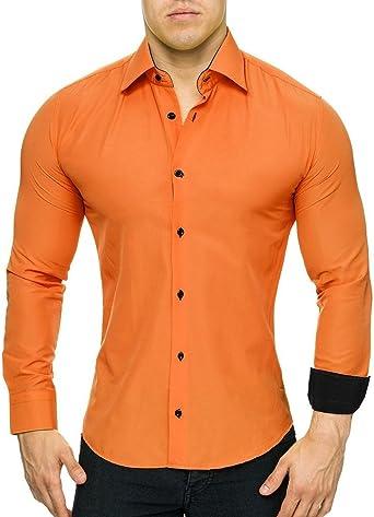 MonsieurMode - Camisa casual - para hombre naranja small: Amazon.es: Ropa y accesorios