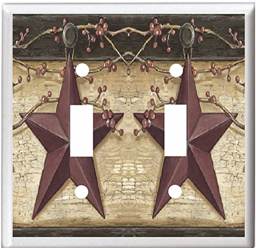 COUNTRY BARN STAR & BERRIES HOME DECOR LIGHT SWITCH COVER PLATE OR OUTLET (2X TOGGLE (DOUBLE))
