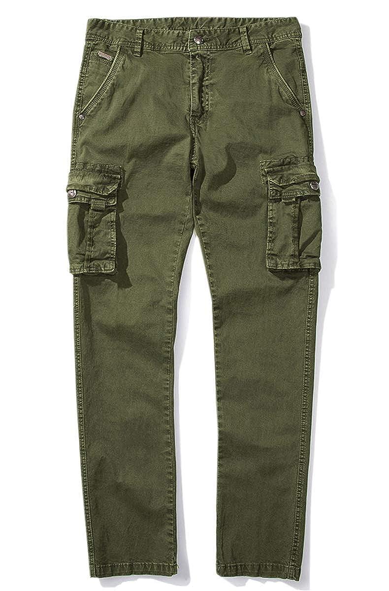 QZH.DUAO Mens Slim Fit Cargo Pants