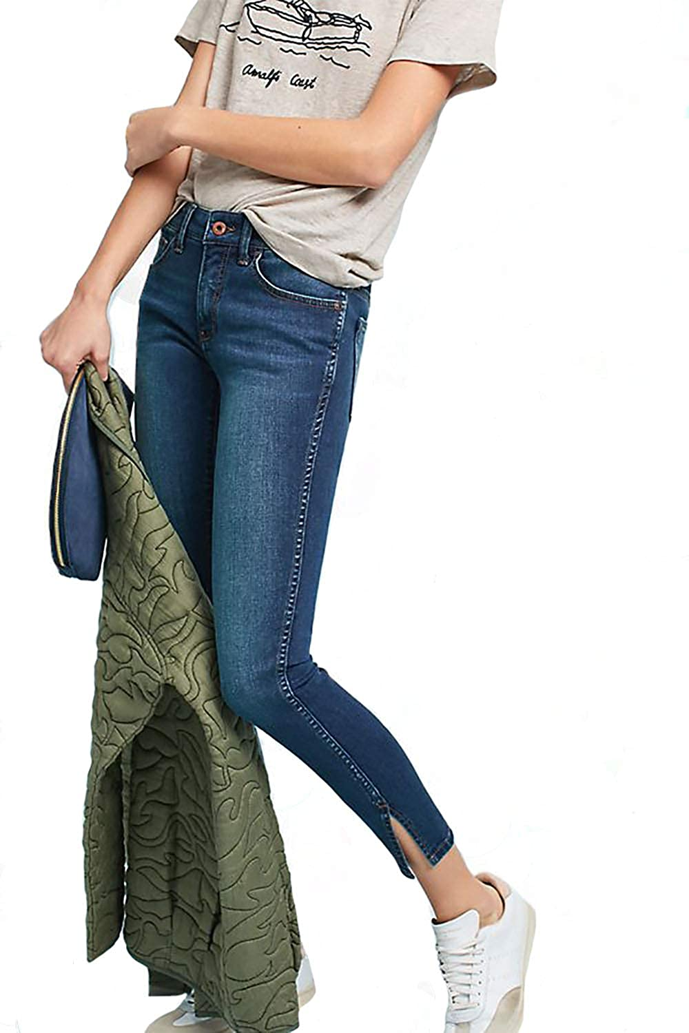 31 NEW Anthropologie-Pilcro Floral Embroidered Mid-Rise Boyfriend Jeans 26 28
