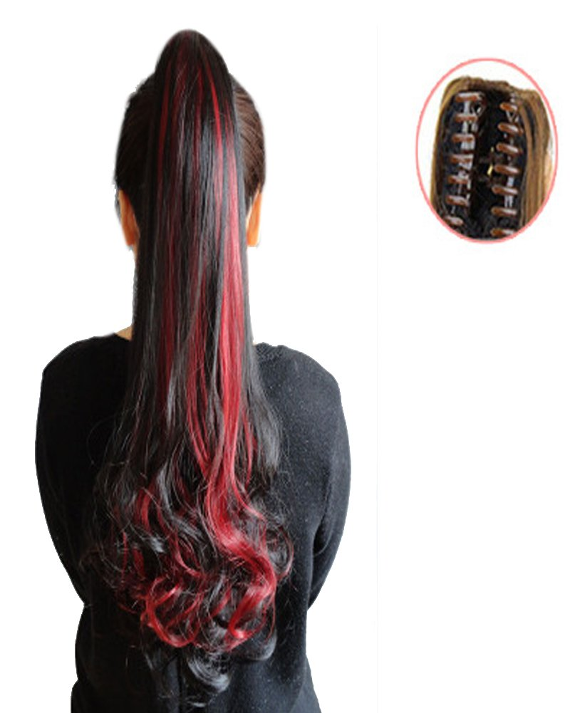 BarRan Wig Long wave Curly Ponytail Jaw Claw Clip in on Hair Piece Extension Hairpiece (Dark Brown and Wine Red)