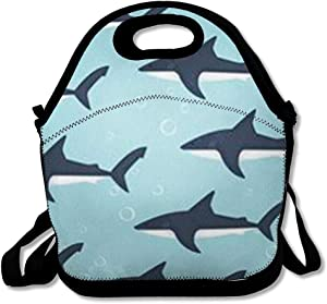 Lunch Bags for Women Insulated Summer Blue Sea Pattern Sharks Water in Wildlife Life Abstract Aquarium Aquatic Beach Lunch Box Tote for Work or School