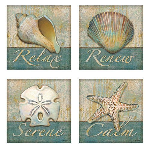 Relax, Calm, Serene, Renew Spa Posters, Set of 4-12x12