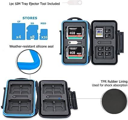 JJC Estuche impermeable para 28 Ranura tarjetas de memorias: 16 x tarjetas Micro SD SDHC SDXC + 8 x tarjetas SD + 4 x tarjetas Compact Flash CF con mosquetón: Amazon.es: Electrónica