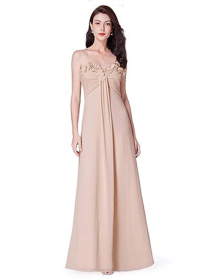 55f1909f11c Ever-Pretty Robe de Demoiselle d honneur Femme Longue Soirée en Mousseline  Chair 36