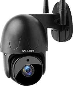 SoulLife Security Camera Outdoor, 1080P HD Wireless WiFi Home Surveillance Camera with Pan/Tilt 360° View Waterproof Night Vision