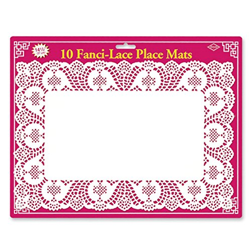Lace Fanci - Club Pack of 120 White Fanci-Lace White Rectangular Table Top Place Mats 10