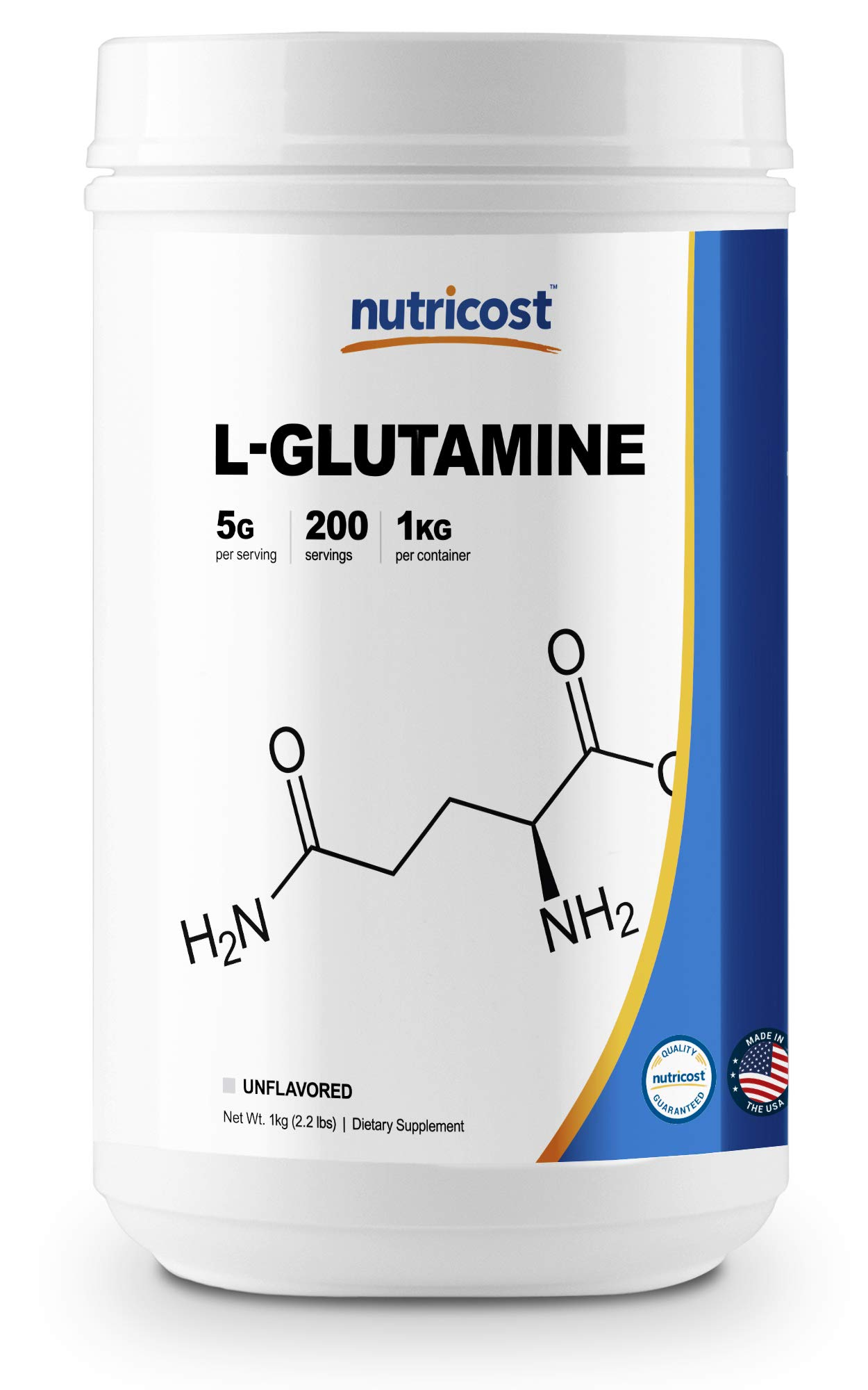 Nutricost L-Glutamine Powder 1 KG - Pure L Glutamine - 5000mg per Serving - High Purity by Nutricost