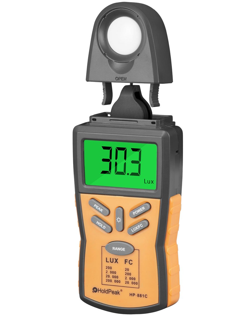 HOLDPEAK 881C Digital Illuminance/Light Meter, Lux Light Meter with Peak Hold, Lux/FC Unit, Data Hold and Backlight, Range 0.1-200,000 Lux, 0.01-20,000 FC and LCD display