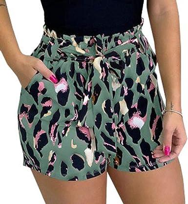 Mujer Moda Impresion Shorts Verano Suelto Pantalones De Pierna Ancha Cintura Alta Con Cordones Pantalones Casual Pantalones Cortos De Playa S Xxl Amazon Es Ropa Y Accesorios