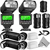 Altura Photo Studio Pro Flash Kit for Nikon DSLR Bundle with 2pcs I-TTL Flash AP-N1001, Dual Wireless Flash Trigger Set and Accessories
