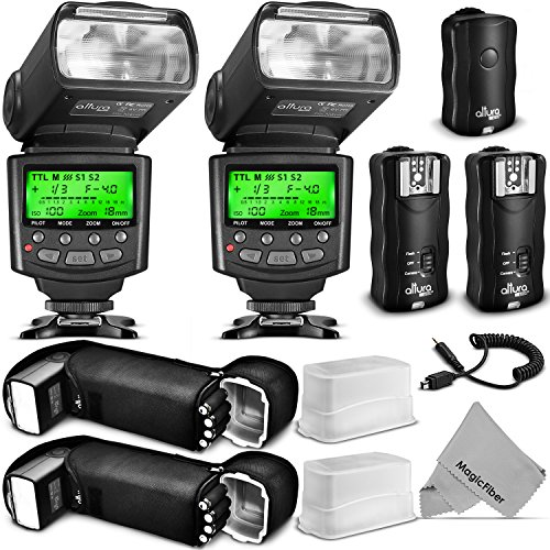 Altura Photo Studio Pro Flash Kit for NIKON DSLR Bundle with 2pcs I-TTL Flash AP-N1001, Dual Wireless Flash Trigger Set and Accessories by Altura Photo