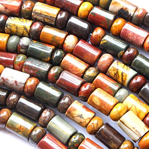 Natural Color Genuine Picasso Jasper rondelle 3*6mm barrel 5*8mm Gemstone Jewelry Making Loose ()