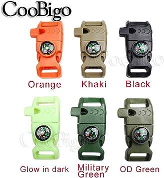 10pcs Pack Mix Colors 5//8 Compass Flint Scraper Fire Starter Whistle Buckle Plastic Paracord Bracelet Outdoor Camping Emergency Survival Travel Kits #FLC158-FWC Mix-s