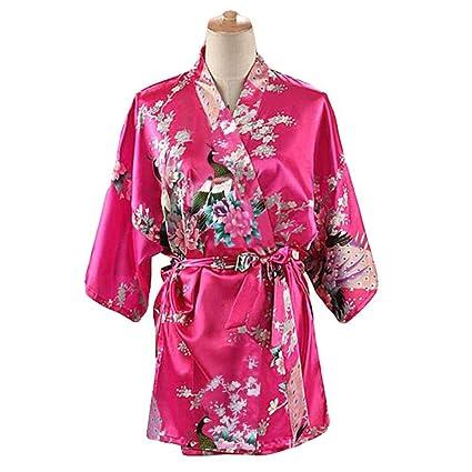 Fucsia - Mujer Pijamas de Tela de Seda imitada Albornoz Corto Bata de Kimono Pavo Real