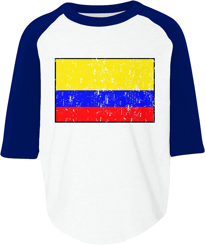 Amdesco Colombia Flag Colombian Toddler Raglan Shirt
