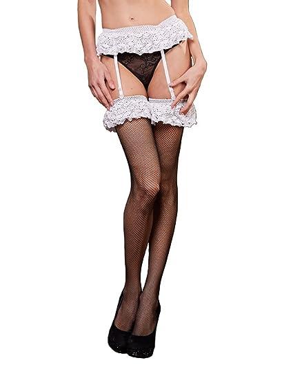 13e53bce7 Rulercosplay Sexy Women Stockings with Garter Belt Black Thigh High Hosiery  (Black 03)