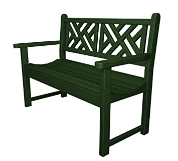 POLYWOOD Outdoor Furniture Chippendale 48 Inch Bench, Green Recycled  Plastic Materials Part 78