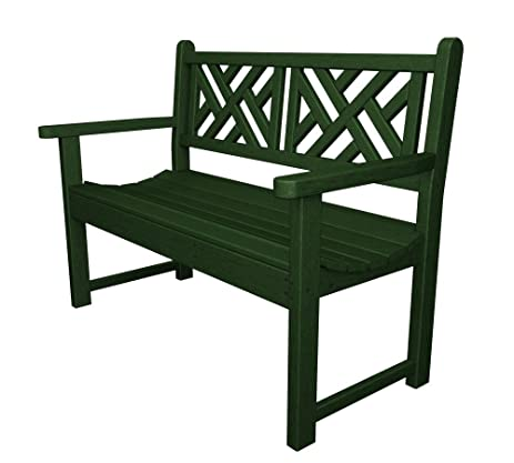POLYWOOD Outdoor Furniture Chippendale 48 Inch Bench, Green Recycled Plastic  Materials
