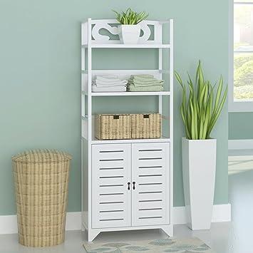 weilandeal armario para baño Albuquerque de madera blanco 46 x 24 x 117,5 cm