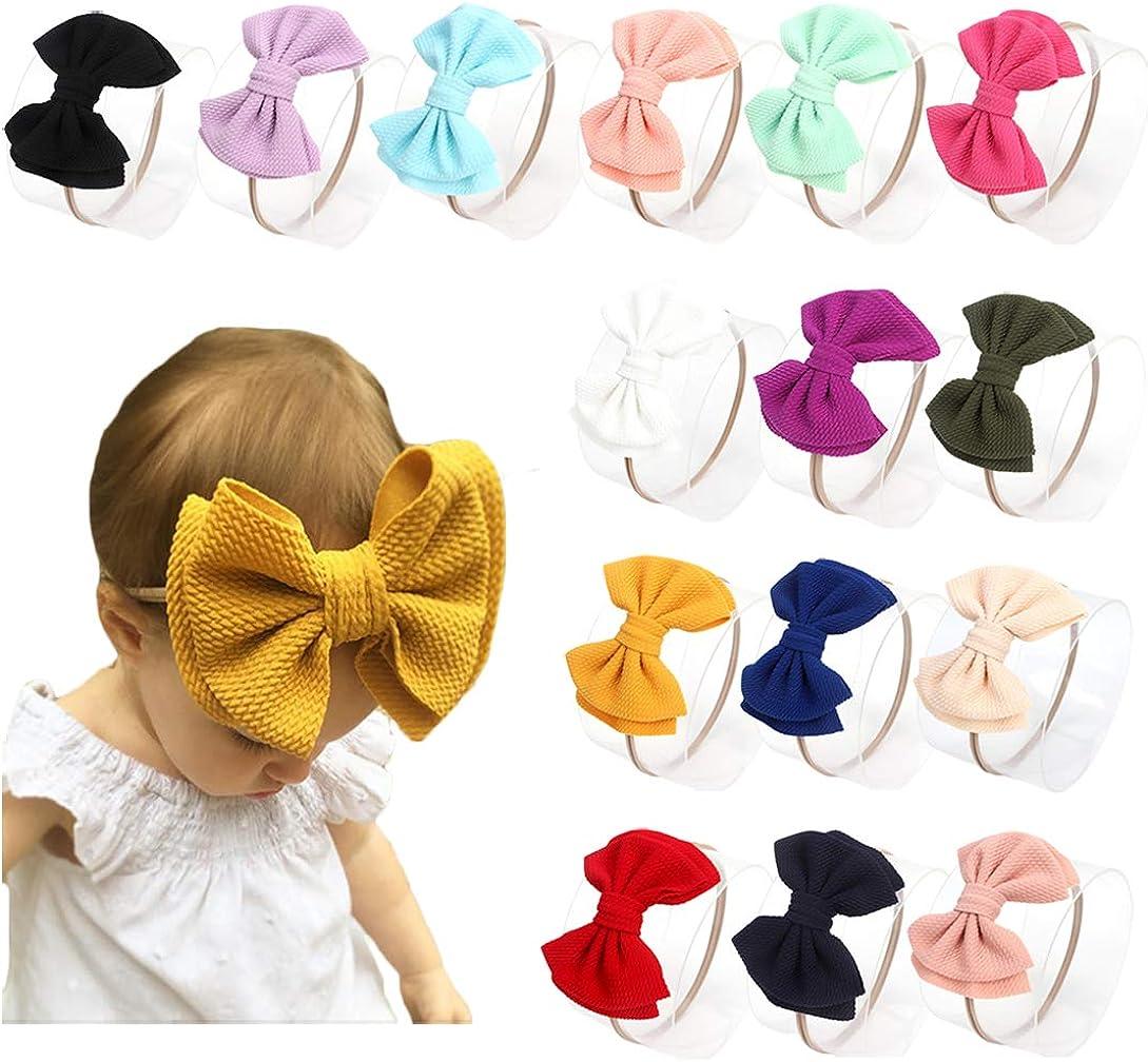Baby Girl Nylon Headbands Newborn Infant Toddler Bow Hairbands Soft Headwrap Children Hair Accessories