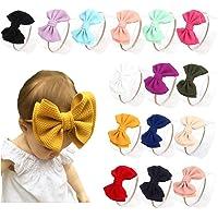 DANMY Baby Girl Nylon Headbands Newborn Infant Toddler Bow Hairbands Soft Headwrap Children Hair Accessories (15pack…