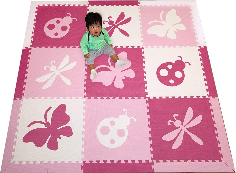 SoftTiles Foam Play Mats- Pretty Bug Theme- Butterfly, Ladybug, Dragonfly Interlocking Playmat Tiles with Sloped Borders for Baby Nursery- Kids Playroom 6.5 x 6.5 ft. Pink, White, Light Pink SCBUPWC