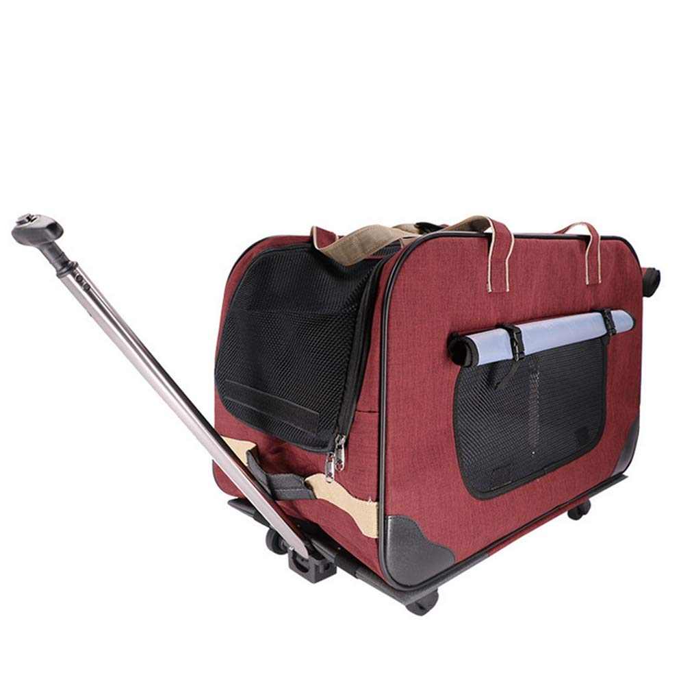 Pet Trolley Case, Trolley Rolling Luxury Travel Bag Collapsible Dog Bag Outing Supplies Can Carry Two Cats Red(623539cm)