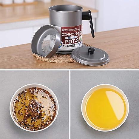 Recipiente del aceite de la cocción-el guardián de la grasa del tocino con el colador/filtro-almacenamiento del acero inoxidable puede el soporte de grasa ...