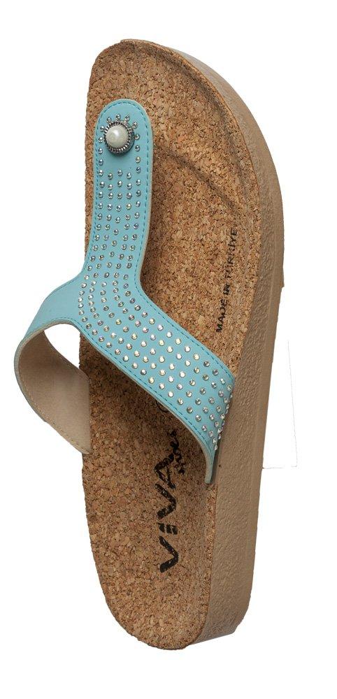 Viva shoes Sandale Zehentrenner Sandaletten mit Strasssteinen Damen in 5 Farben und 6 Größen (36, Türkis)
