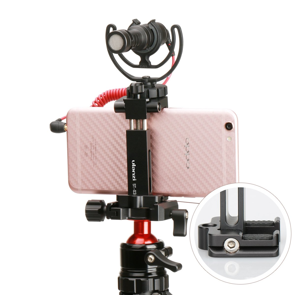 Ulanzi ST-03 Metal Smart phone Tripod Mount with Cold Shoe Mount and Arca-Style Quick Release Plate for iPhone 7 Plus Samsung HuaWei,Cell Phone Tripod Holder Clip Adapter for JOBY GorillaPod (Black)