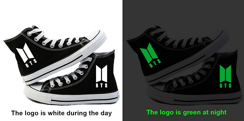 645667898009 Unisex BTS Leucht Aufdruck Hohe Schuhe Schnürung Beiläufige Schuhe ...