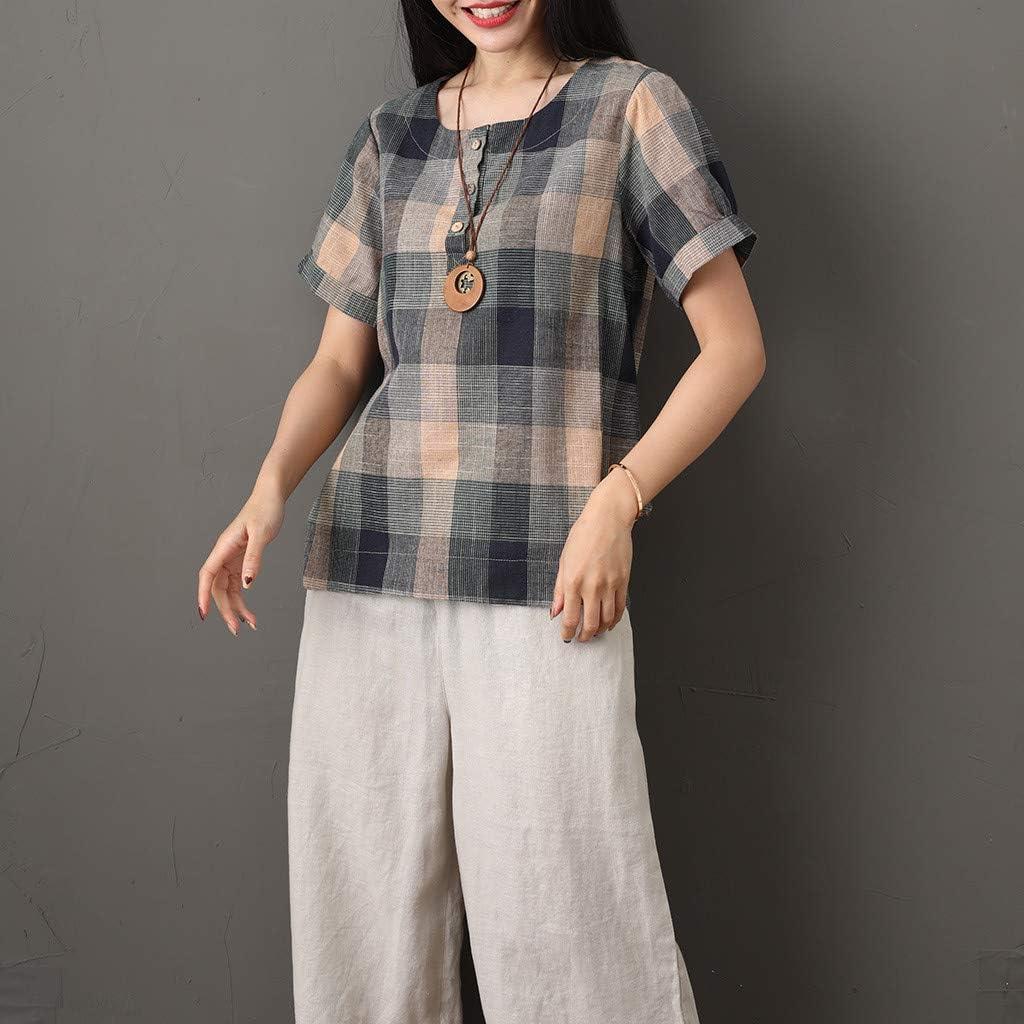 TUDUZ Blusas Mujer Manga Corta Verano Camisas Camisa a ...