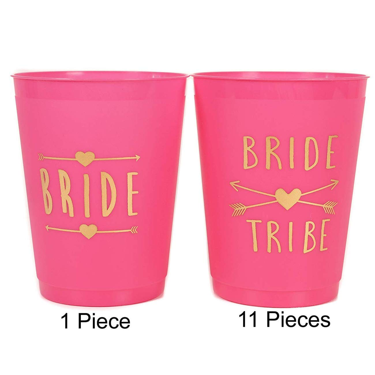 ANF BRANDS (12 Pack ) PINK Bride and Bride Tribe Cups - for Bachelorette, Bridal, & Hen Parties