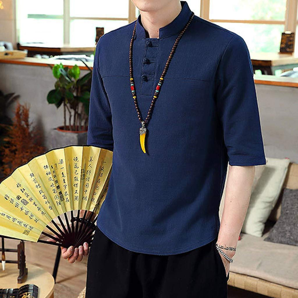 Colmkley Mens Summer Solid Color Cotton Chinese Style Buckle Short-Sleeved Shirt