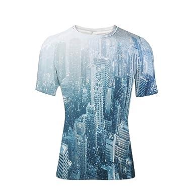 1f502db53 Amazon.com: T-Shirt Short Sleeves,Image Skyline with Urban ...