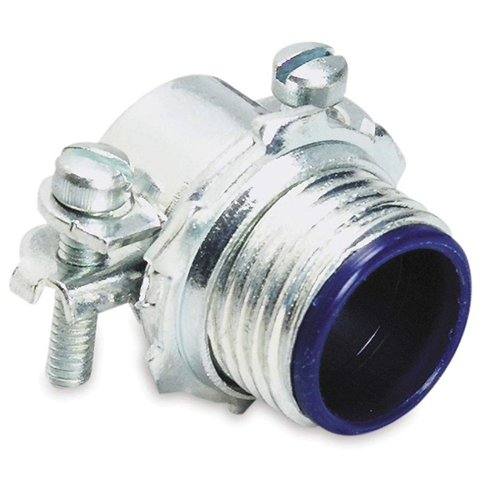 T&B Industrial Fitting 3302M-TB Sheathed Cable Connector, 1/2 in Trade, 0.25 to 0.59 in Cable Openings, Steel, Zinc Plated - Pack of 100 by T&B Industrial Fitting